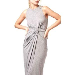 Topshop Knot Front Grey Bodycon Sleeveless Dress